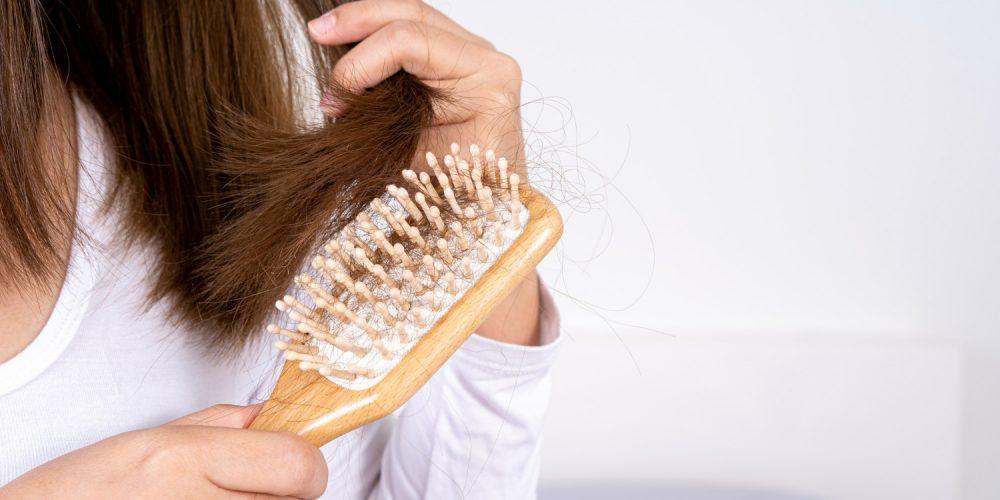Closeup Hand Holding Comb Hair Fall Problem